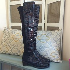 Stuart Weitzman 5050 Boots in Croc Leather Gorgeous boots in a rich brown with croc leather. In excellent condition, may be a little dust since its been sitting in my closet. Does not come with box or dust bag. These are the coveted 5050 over the knee boots. No trades. Priced to sell. Will negotiate but no trades. Stuart Weitzman Shoes Over the Knee Boots
