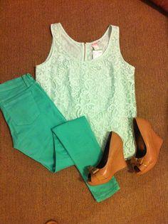 Lace + mint + those shoes!