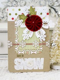 Let It Snow Card by Melissa Phillips for Papertrey Ink (October 2013)