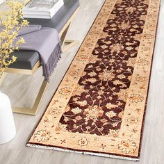 Rugsville Vegetable dyes Brown Beige Wool 10407-79x152 Rug