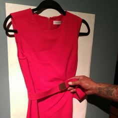 Calvin Klein dress Red Calvin Klein dress no tag but never worn the plastic still on the buckle Dresses Maxi