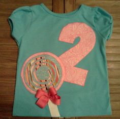 Custom Birthday Lollipop applique shirt for your sweet little girl's candy theme. $18.00, via Etsy.