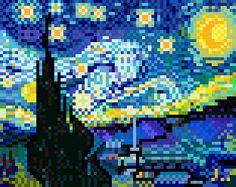 Pixel art (The Starry Night) - Constellation style on Behance