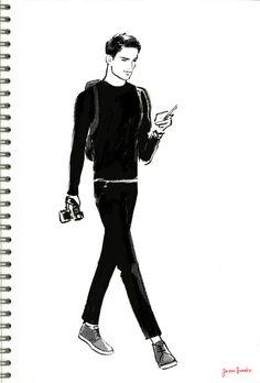 Jason-Brooks-Folio_Art-Illustration-fashion-illustrations-Men-walking-5-L.jpg (610×900)