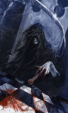 """Death sits in the chair across from me and watches. Death sees, but has no eyes. Death knows, but has no mind. We often sit together in the night; We play a game that's called """"My Life"""". Death has one move left... I have none."""