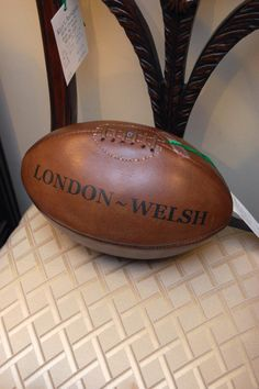 Vintage London ~ Welsh Rugby Ball @ Hunt & Gather - Fine Antiques and Furnishings. Bernard Street, Raleigh, NC.