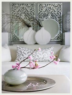 Cherry blossoms add a splash of color and add a touch of Asian influence.