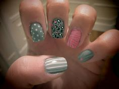 grey pink white nails stripes zebra print leopard print polka dots hearts