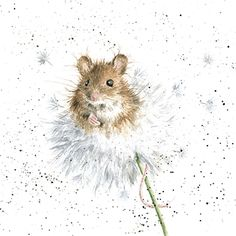 A beautiful thinking of you card with a gorgeous mouse and dandelion design.The caption reads: Thinking of You .The wonderful illustration is from a watercolour entitled Dandelion by Hannah Dale.The card is blank inside for your own message. Watercolor Animals, Watercolor Art, Maus Illustration, Animal Drawings, Art Drawings, Wrendale Designs, Marjolein Bastin, Cute Mouse, Cute Art