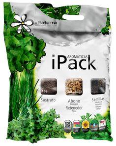 iPack Aromáticas. Sustrato+abono ecológico+semillas albahaca, cebollino, orégano y perejil