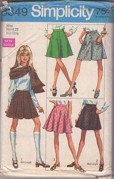 Simplicity 8349 Vintage 60's Sewing Pattern FAB Mod Mini Skirt Set, Flared, Short, Kilt, Faux Fly, Fringe Trim