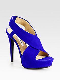 Diane von Furstenberg - Zia Suede Criss-Cross Slingback Platform Sandals