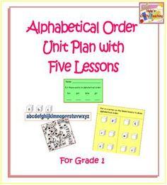 Alphabetical Order Unit Plan!