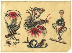 Traditional Sailor Tattoos, Traditional Tattoo Old School, Traditional Tattoo Design, Dragon Tattoo Black And Grey, Black And Grey Tattoos, Tattoo Flash Sheet, Tattoo Flash Art, Vintage Tattoo Art, Antique Tattoo