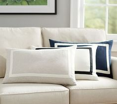 Belgian Flax Linen Frame Lumbar Pillow Cover #potterybarn