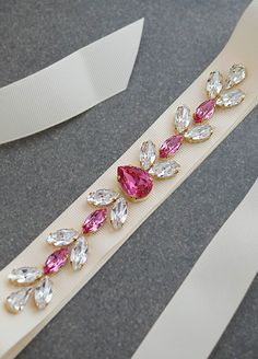 Silk Ribbon Embroidery Fuchsia Rose and Clear Swarovski Crystals Hand beaded Bridal Sash from EarringsNation Fuchsia Weddings Hot Pink Weddings - Bead Embroidery Patterns, Silk Ribbon Embroidery, Embroidery Jewelry, Embroidery Designs, Embroidery Ideas, Motifs Perler, Bridal Sash, Embroidery Fashion, Bridal Jewelry