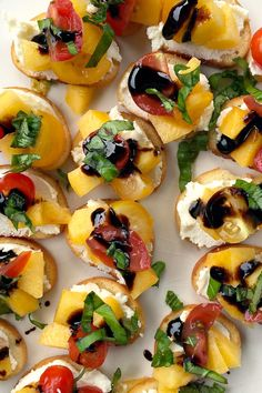 Peach Ricotta Crostini by reluctantentertainer: Use bagle chips (salty and crunchy) or make your own crostini (baguette bread). You can also use an aged balsamic vinegar if you do not have a glaze.Use bagle chips (salty and crunchy) or make your own crostini (baguette bread). You can also use an aged balsamic vinegar if you do not have a glaze. #Appetizer #Small_Bites #Crostini #Peach #Ricotta #Light