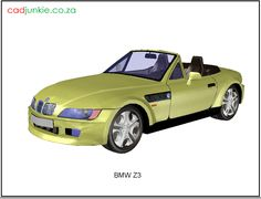3D Vehicle: BMW Z3 CAD Format: AutoCAD 2013 Block Type: 3D Mesh Units: mm Autocad, 3d Mesh, 3d Cad Models, Bmw Z3, Cad Blocks, Convertible, 3 D, Transportation, The Unit