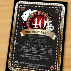 Poker Playing Card birthday invitation Casino theme by miprincess