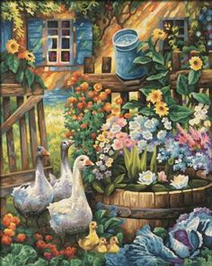 Geese in the Garden (63 pieces)