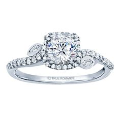 Rm1407r-14k White Gold Halo Engagement Ring - RM1407R-F8