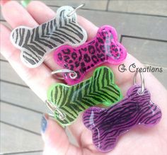 Animal Print Bone Dog Tag - Glow in the Dark - Leopard Zebra Tiger Dog ID - Pink Purple Green Pet Tag - Resin Handmade Dog Collar Accessory from G Creations on Wanelo
