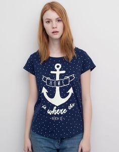 Pull&Bear - woman - t-shirts and tops - polka-dot t-shirt - faded navy - 05240345-V2015
