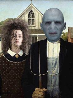 Photo of Some funny pictures of Bellatrix for fans of Harry Potter Vs. American Gothic Painting, American Gothic Parody, Always Harry Potter, Harry Potter World, Modern Pictures, Funny Pictures, Twilight Photos, Famous Artwork, Weird Science