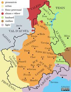 Mappa linguistica del Piemonte