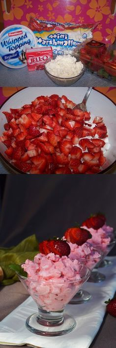 """Lea's Cooking: """"Strawberry Salad"""" - If you don't like the consistency of cottage cheese, you can purée it or you could sub sour cream instead. I have tried it both ways with Orange Fluff jello salad and it was a success."""