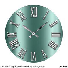 Shop Teal Aqua Gray Metal Grey Silver Roman Number Large Clock created by luxury_luxury. Blue Gold, Dark Blue, Aqua, Teal, Large Clock, Roman, Numbers, Grey, Artwork