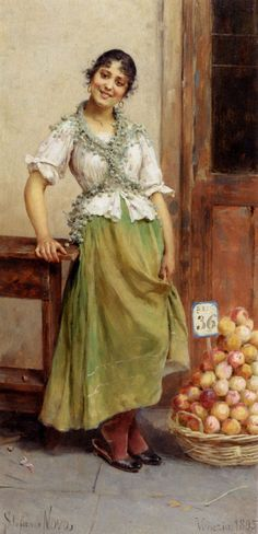 Stefano Novo (Italian, 1862-1927) - The Peach Seller, 1895