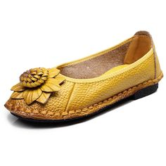 Sale 23% (29.99$) - Women Flat Shoes Leather Round Toe Flower Soft Casual Outdoor Loafers