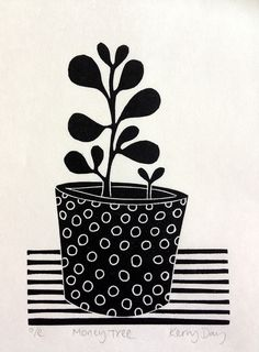Mini Print by Kerry Day. A Open Edition printed onto Japanese Washi paper. Lino Art, Linoprint, Plant Illustration, Chalk Pastels, Illuminated Letters, Tampons, Book Art, Artist's Book, Linocut Prints