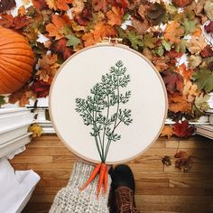 Carrots embroidery hoop. Autumn