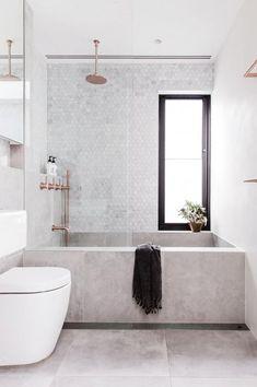 50 best of big bathrooms ideas concrete bathtub and tile in modern bathroom via inside out Minimal Bathroom, Modern Bathroom Design, Bathroom Interior Design, Small Bathroom, Bathroom Ideas, Bathroom Marble, Bathroom Goals, Master Bathrooms, Dream Bathrooms