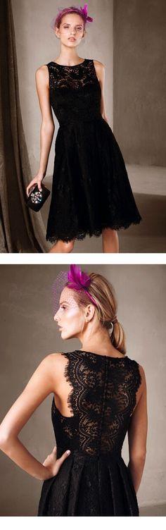 sleeveless jewel neckline a-line/princess black lace homecoming dress