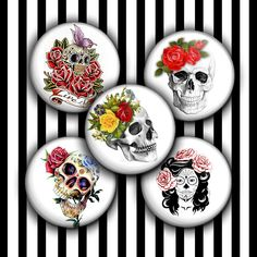 Skull Circle Images for Bottle caps, Jewelry Making. Digital Collage sheet contains 18 unique images on 8.5×11 format.