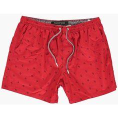 7b321b80fb2fa BoohooMAN Blue Palm Print Swim Shorts ($16) ❤ liked on Polyvore featuring  men's fashion