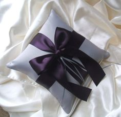 Romantic Satin Ring Bearer Pillow...You Choose the Colors...Buy One Get One Half Off..shown in silver/eggplant. $22.50, via Etsy.