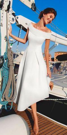 30 Simple Wedding Dresses For Elegant Brides ❤️ simple wedding dresses beach knee length off the shoulder asymmetrical viero bridal ❤️ See more: http://www.weddingforward.com/simple-wedding-dresses/ #weddingforward #wedding #bride