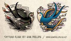 Good and evil swallow chest piece tattoo - Sam Phillips - Artist . Illustrator . Graphic Designer