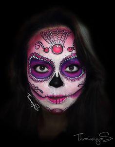 """#face #paint #catrina #purple """"bodypaint #facepaint"""