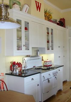 yellow white red kitchen