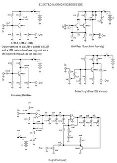 List of Guitar Fuzz, PreAmp, OpAmp electronic circuits and electronic schematics for a variety of Guitar effects and distortion fx. Diy Guitar Amp, Diy Guitar Pedal, Guitar Pedals, Electronic Circuit Design, Electronic Engineering, Electronics Basics, Electronics Projects, Battery Charger Circuit, Simple Circuit
