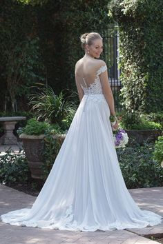 Style 4030: Beaded Lace Off the Shoulder Gown with Chiffon Skirt | Sincerity Bridal