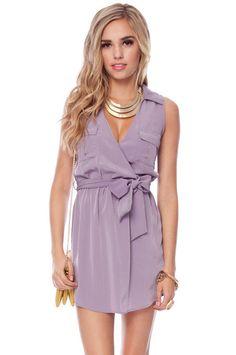 Leanne Pocket Shirt Dress in Dusty Lilac :: tobi