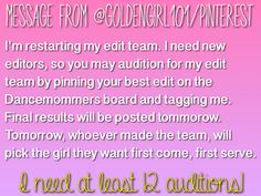 PIN YOUR BEST EDIT ON THE DANCEMOMMERS BOARD AND TAG ME IN IT .