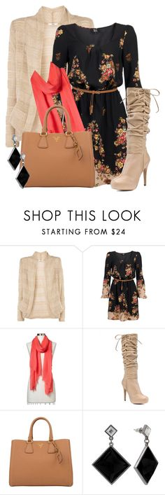 """""""Cardigan Dress Boots #1"""" by stylesbyjoey ❤ liked on Polyvore featuring Oasis, DEPT, Gap, Charles David, Prada, Apt. 9, floral dresses, bags, scarves and cardigans"""