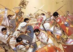 Battle of Immae, 218 AD. In the civil war following the death of Caracalla, his supposed descendant Elagabalus defeated the emperor Macrinus.